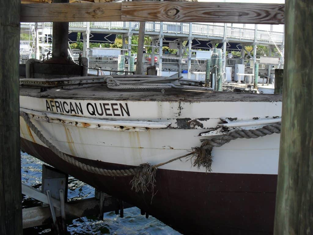 The African Queen sits at a dock in Key Largo.