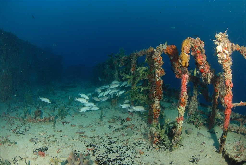 The remains of the Speigel Grove wreck, one of the best places to scuba dive in Key Largo.