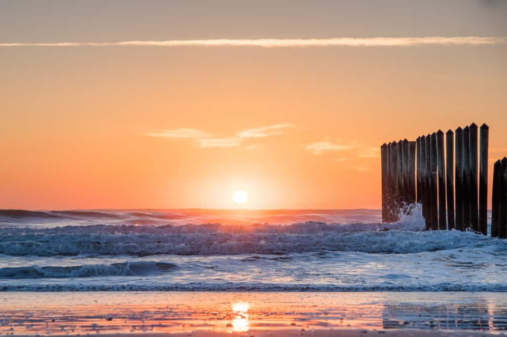 Poles in the ocean on Mayport Naval Station Beach.