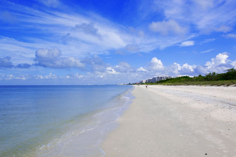 The shallow shore at Barefoot Beach in North Naples, Florida.