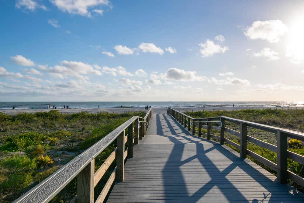 The boardwalk leading to Bowman's Beach, one of the dog-friendly beaches in Southwest Florida.