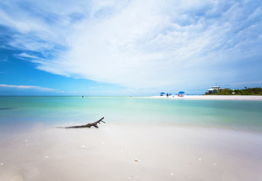 Clear blue water at Clam Pass Beach in Southwest Florida