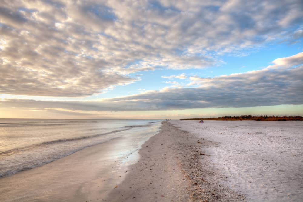 Clouds over the sand at Tigertail Beach on Marco Island.