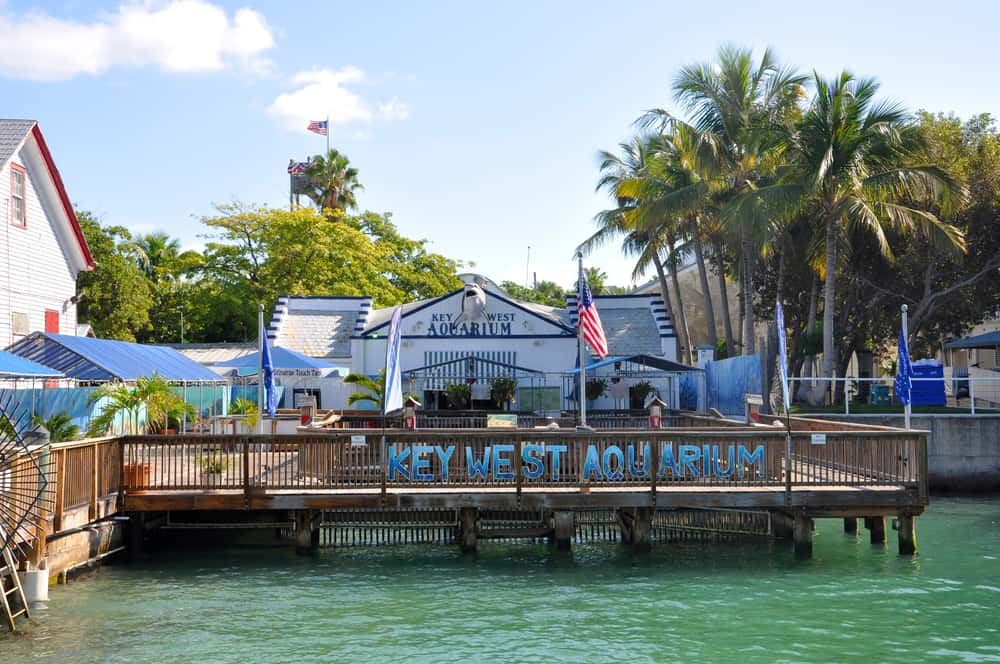 An outside view of the boardwalk and the Key West Aquarium, one of the best aquariums in Florida.