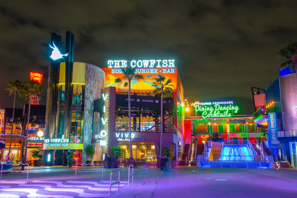 night time photo of Universal Citywalk where you can find free things to do in Orlando