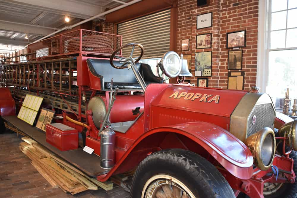 A vintage red fire truck in the Orlando fire museum one of many fun and free things to do in Orlando