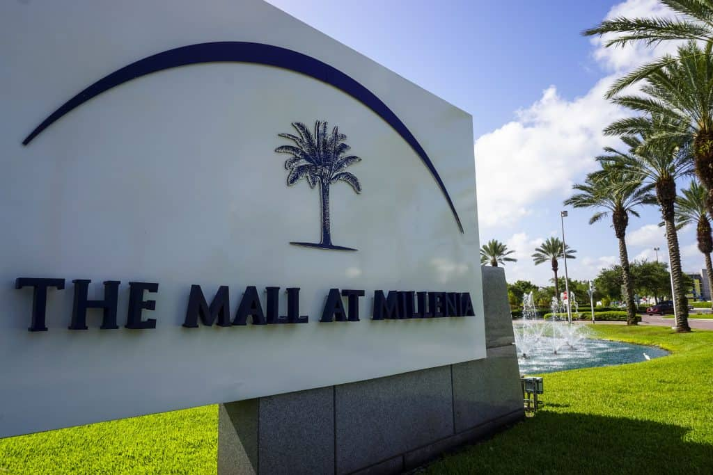 The Mall at Millenia sign on a sunny day.