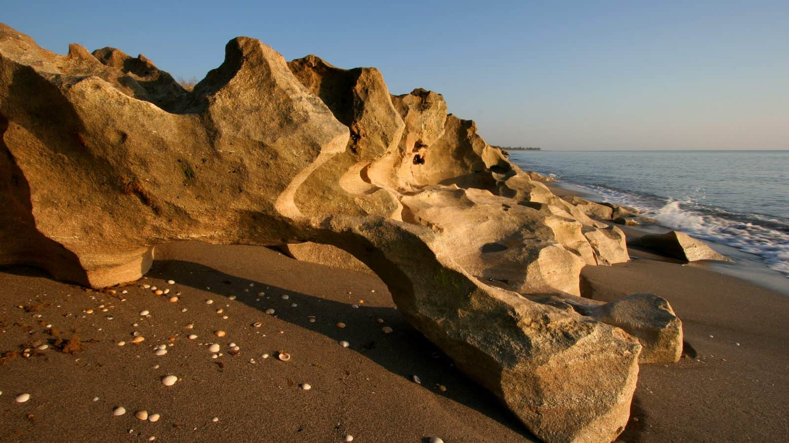 The limestone formations sit upon the dark sands of Blowing Rocks Preserve