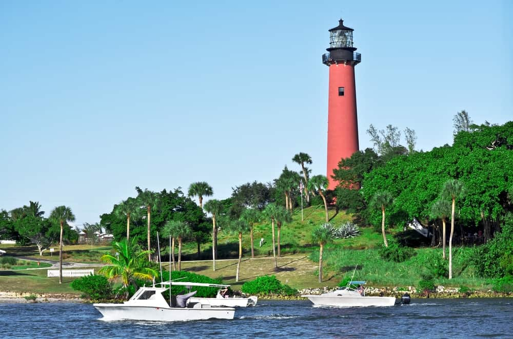 The Jupiter Inlet Lighthouse and Museum stands tall and is a beautiful shade of red