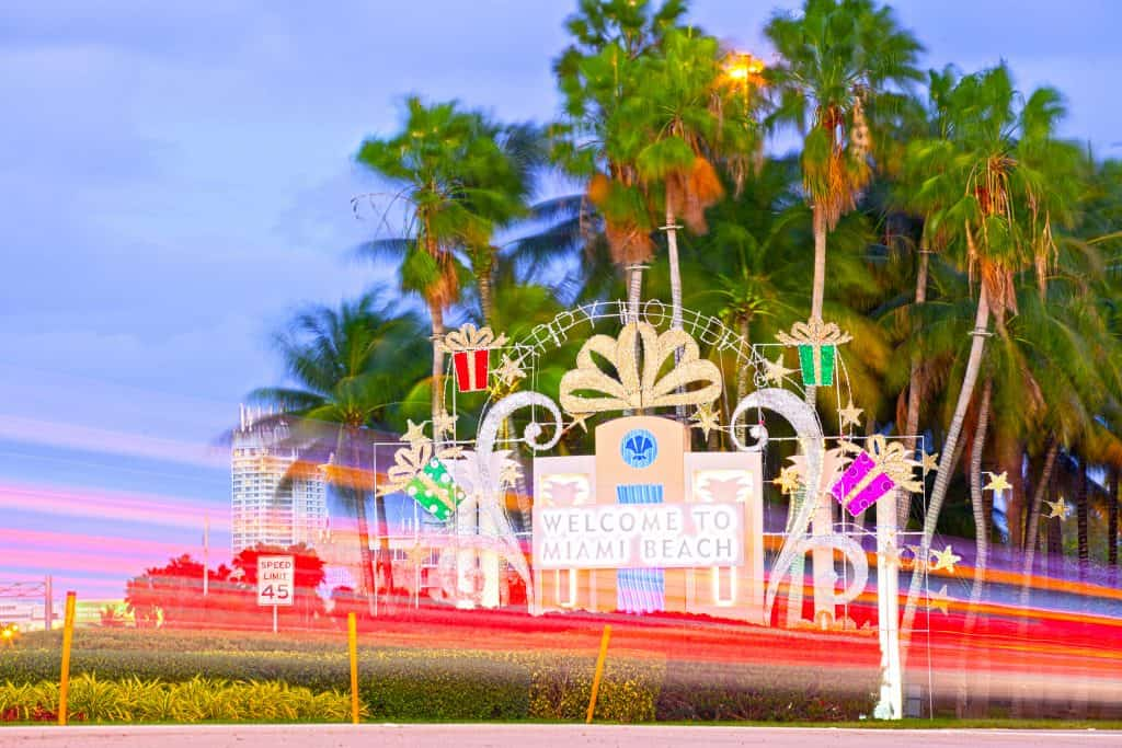"""The """"Welcome To Miami Beach"""" sign decorated for Christmas"""