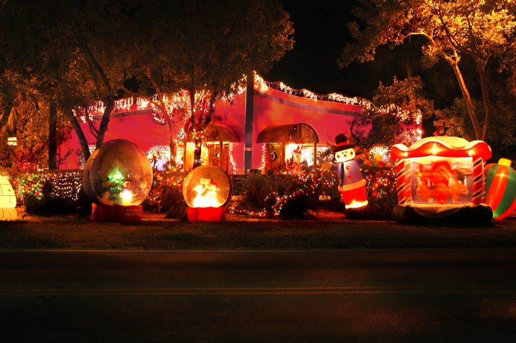 An elaborate Christmas display outside a house