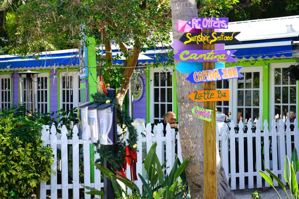 The streets of Sanibel are vibrant in color with lots of shops, restaurants, and inns.