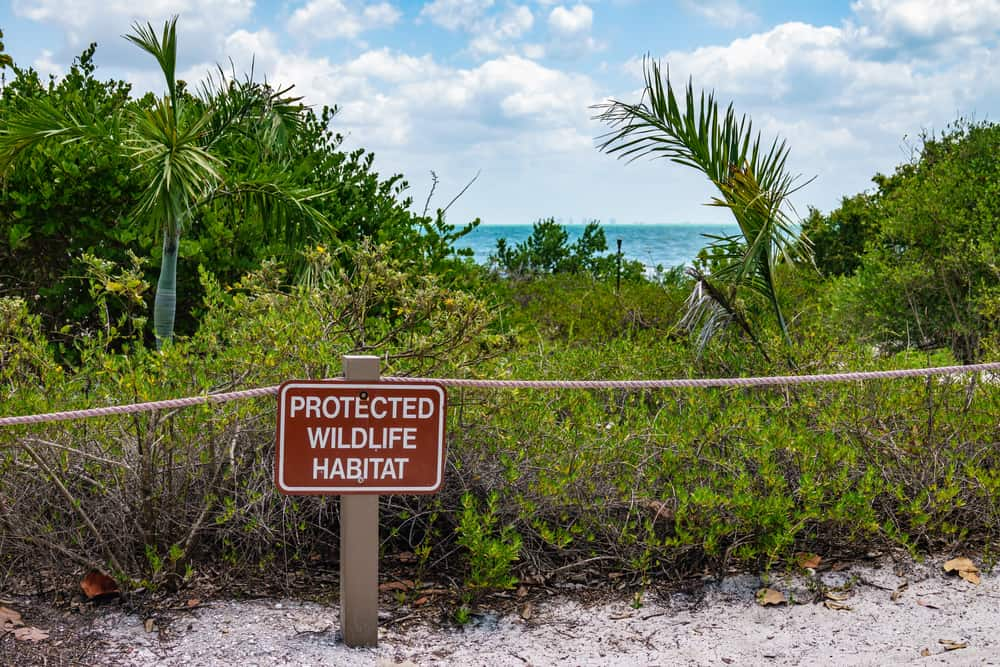 Wildlife is protected, as this sign shows, in Sanibel.
