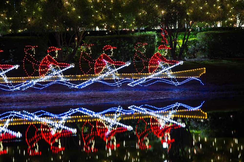 Part of a Christmas light display on the water in Sarasota, one of the best Florida Christmas vacations.