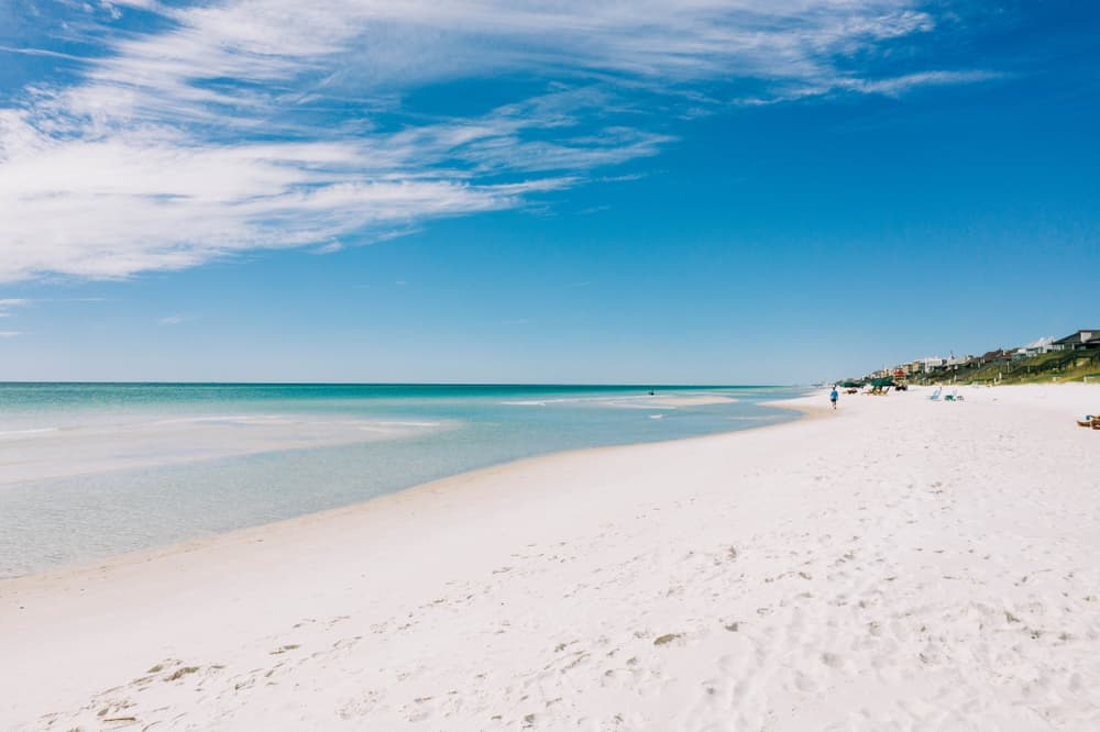 white sugar sand stretching into blue waters at Rosemary Beach Florida