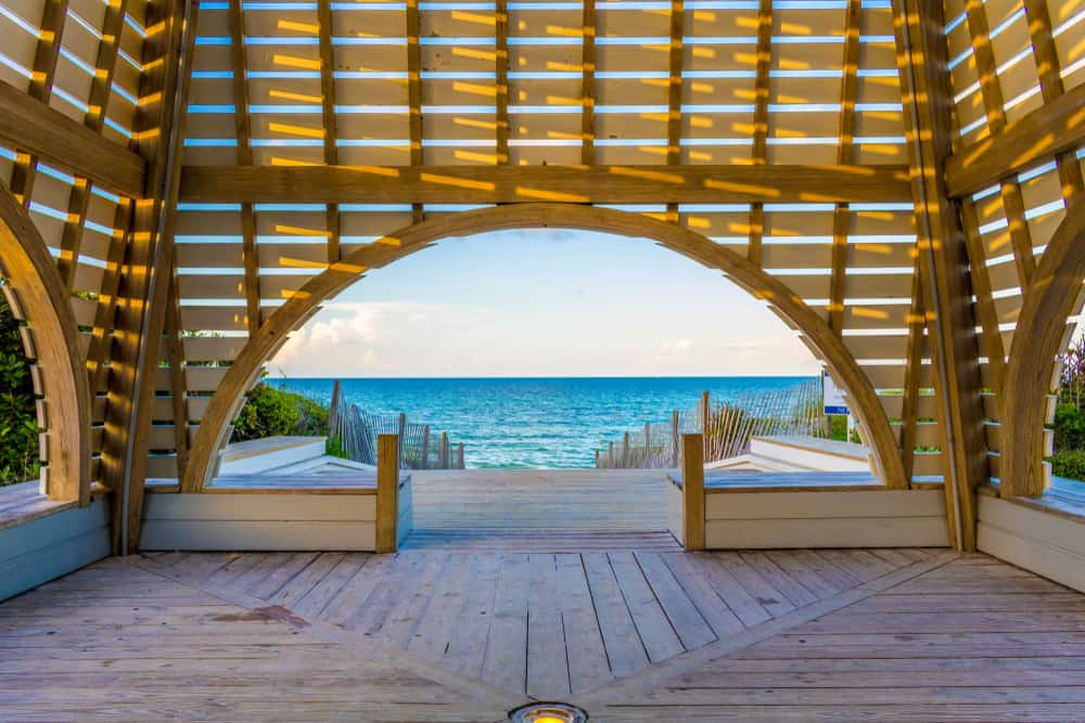 looking out from the beach pavillion at Seaside Florida beach one of the best beaches near panama city
