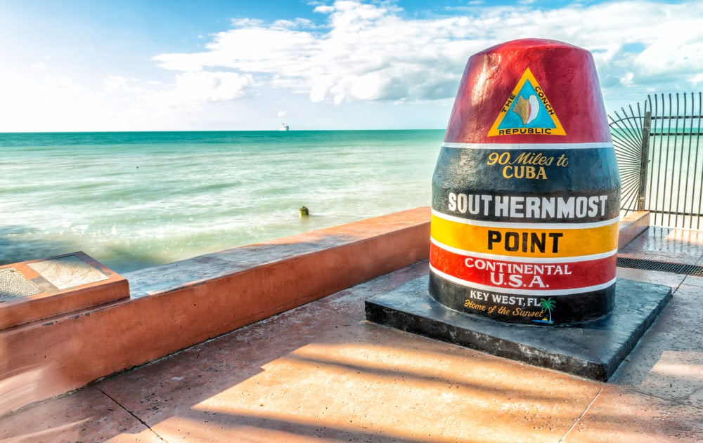 This concrete buoy marks the southernmost point of the continental US and is only 18 feet above sea level!
