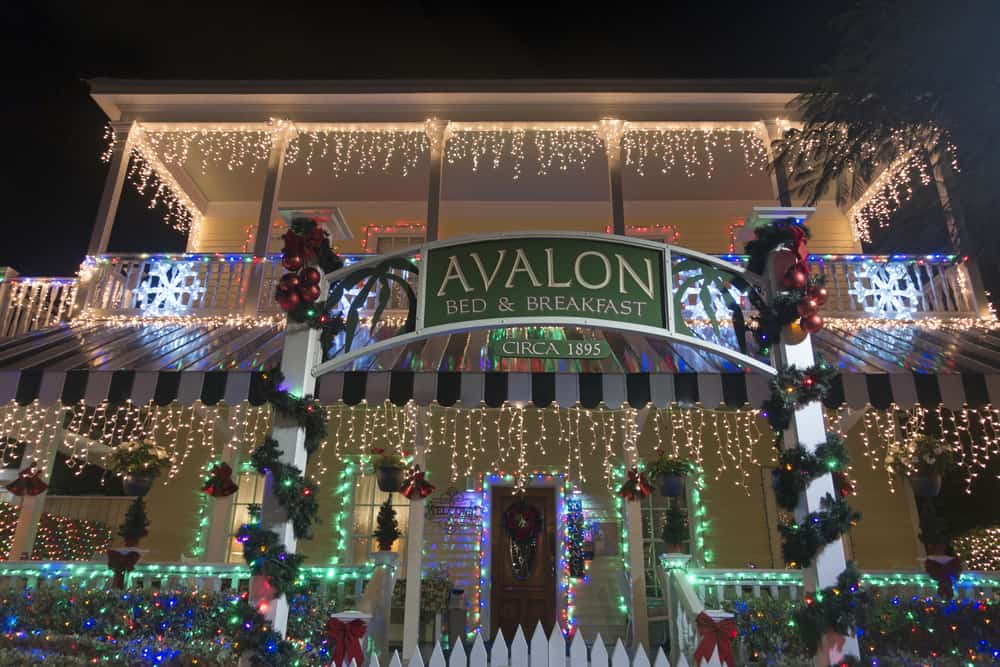 The Avalon Bed and Breakfast is decked in Christmas lights, making it the perfect location for a tour in Key West in December.