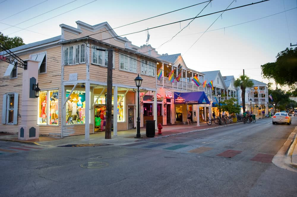 Duval street is beautiful when lit up at sunset, especially with its lights in Key West in December.