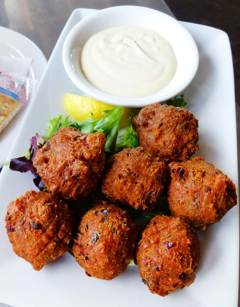 Try the homemade conch fritters with a dipping sauce