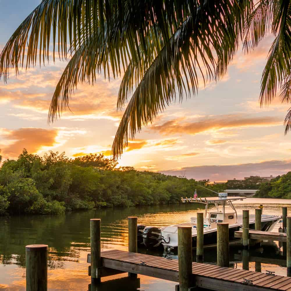 A sunset view from the dock at Guanabanas restaurant in Jupiter