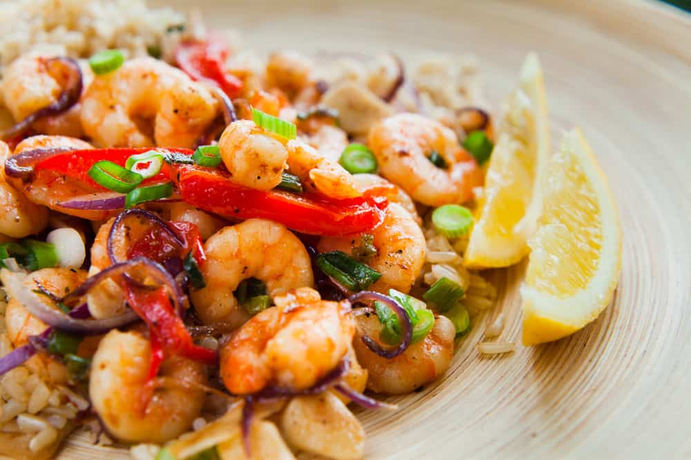 Try the Caribbean style shrimp bowl with rice, peppers in a spicy sauce.