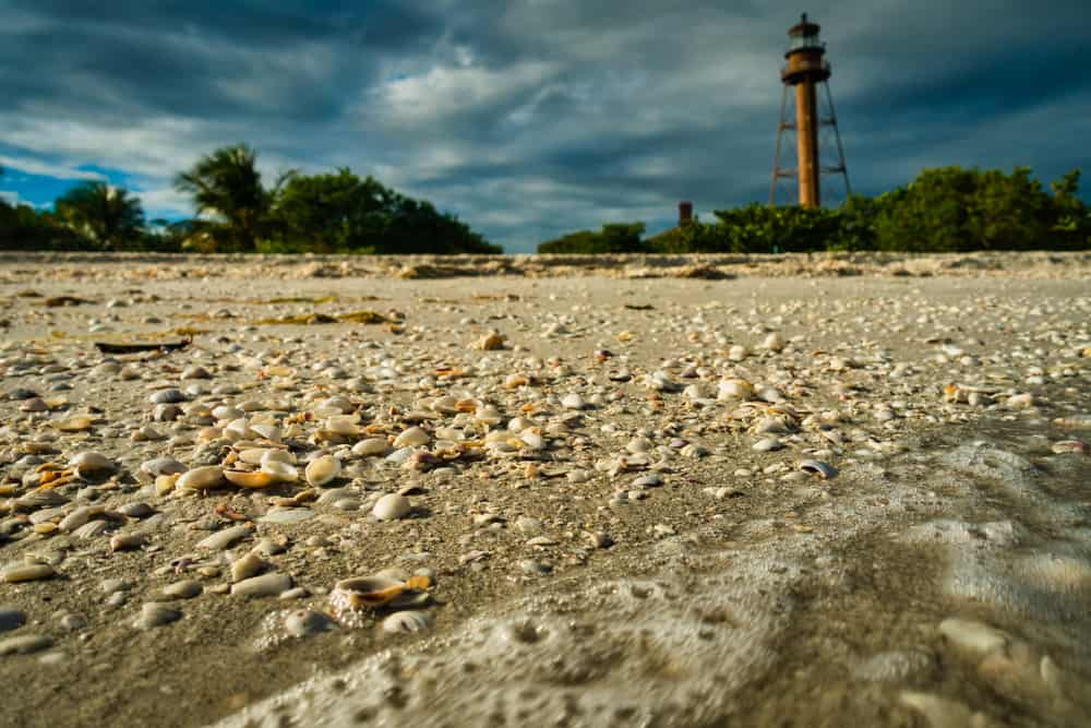 Photo of the lighthouse on the beach in one of the most popular beaches in Fort Myers, Sanibel Island
