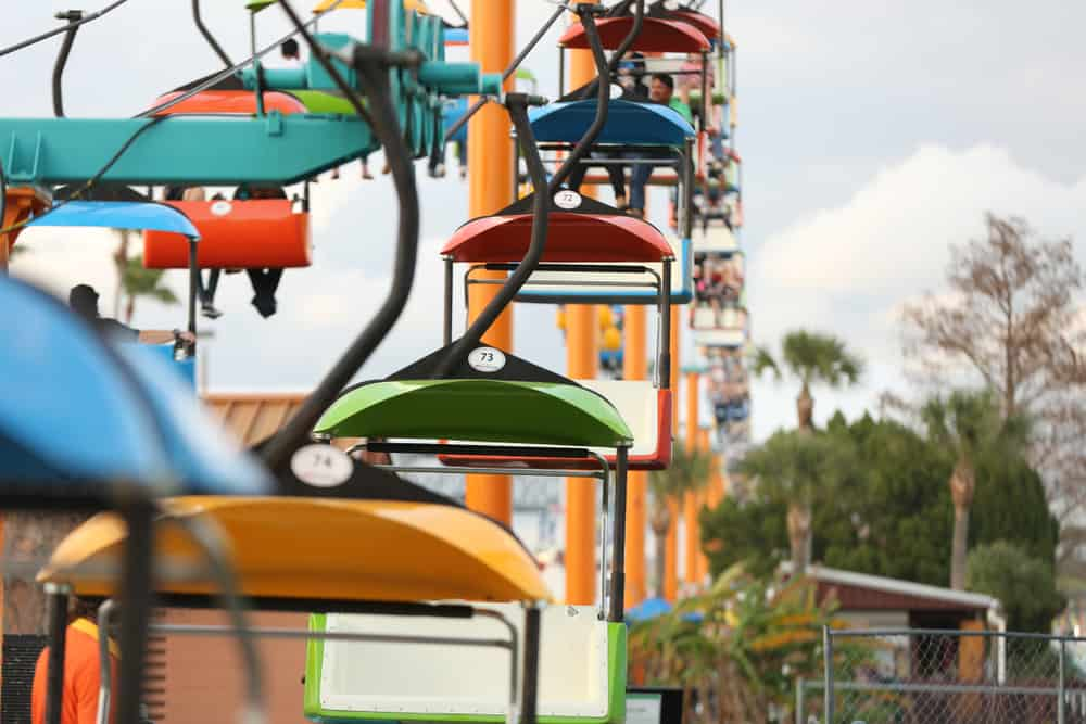 A sky rider ride at the Florida State Fair