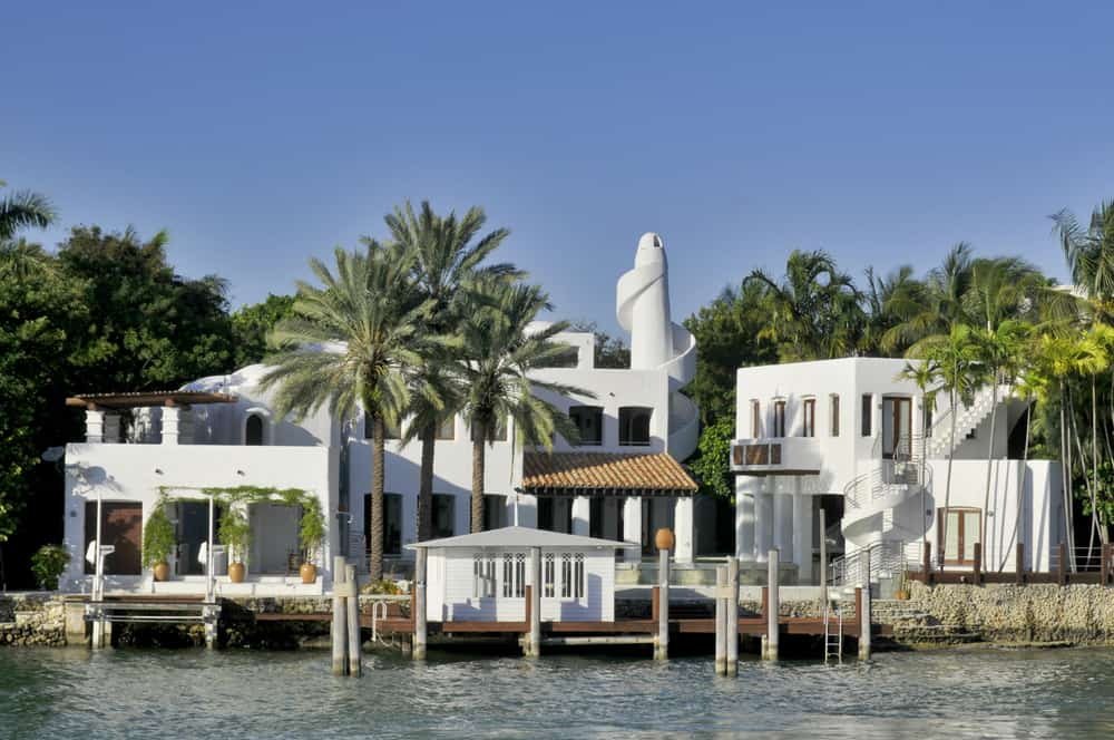 large house on the water from boat tour in Miami