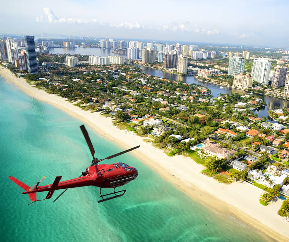 helicopter tour over Miami on one of the best tours in Miami