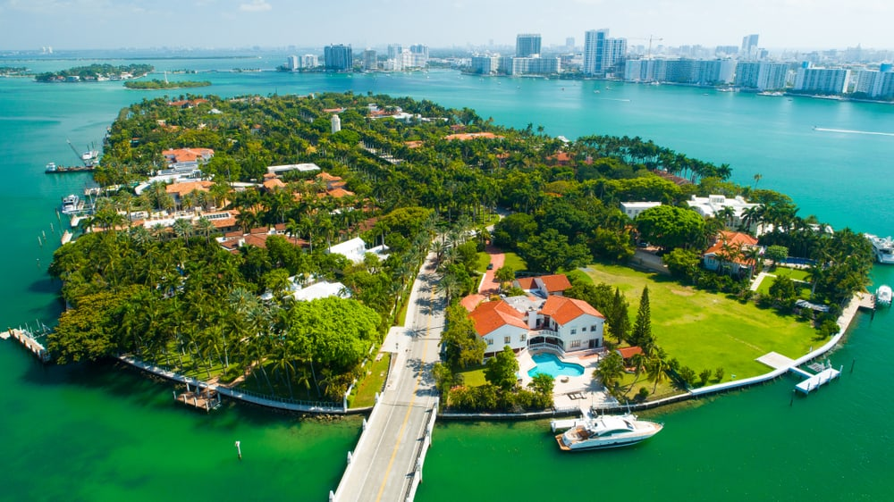 view of star island from the sky where you can see famous homes on the best tours in Miami