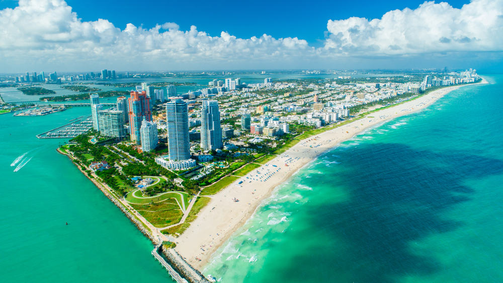 view of south beach Miami from the sky on one of the best tours in Miami