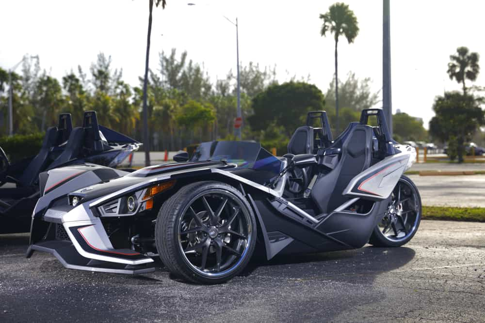 slingshot vehicle on street in Miami one of the best tours in Miami you can take