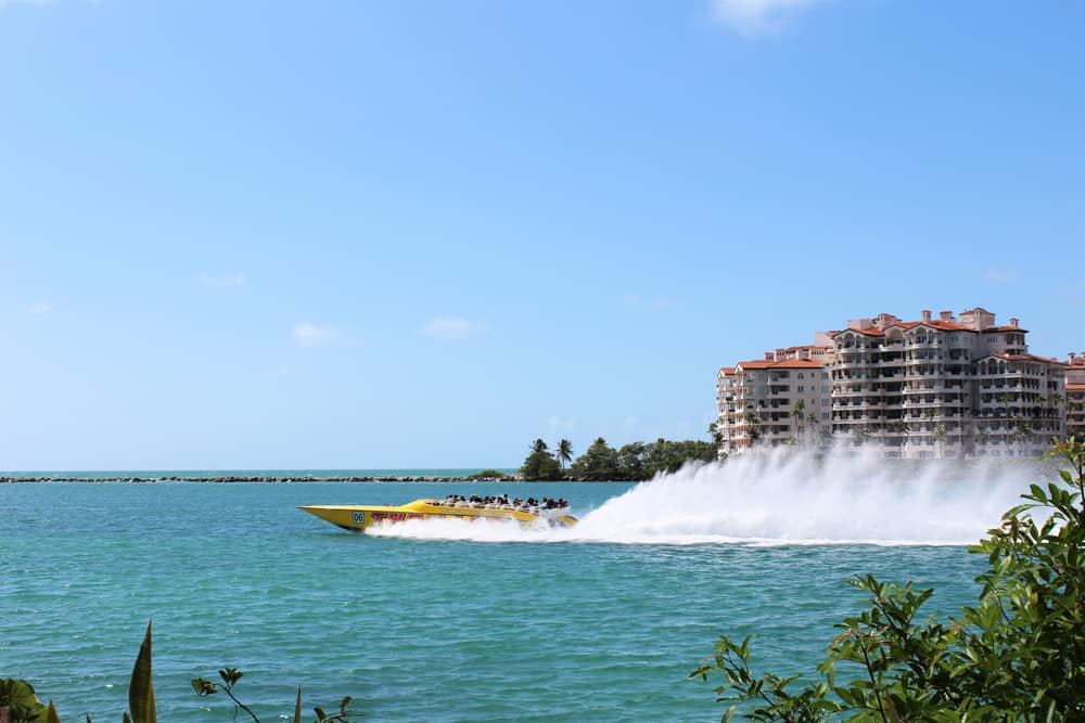 speedboat tour on the water in Miami