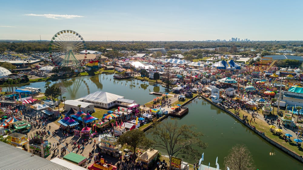 An aerial shot of one of the largest fairs in Florida, the Florida State Fair.