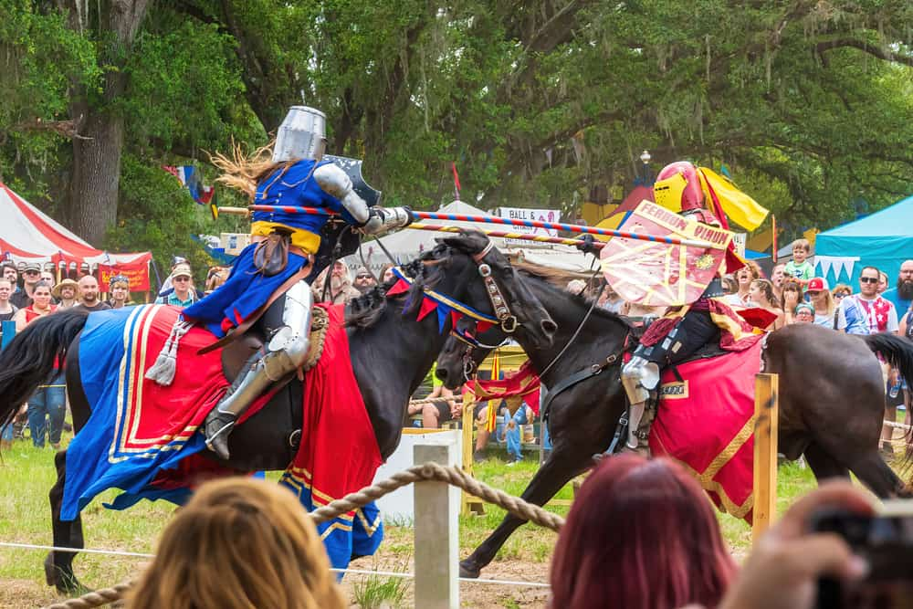 A jousting competition during one of the renaissance fairs in Florida.